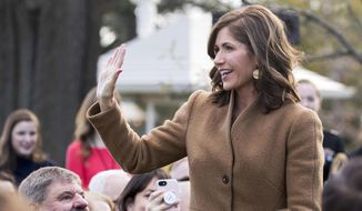 In this Nov. 20, 2018, file photo, South Dakota Gov.-elect Kristi Noem waves in the Rose Garden of the White House in Washington. Organizers of South Dakota Gov.-elect Kristi Noem's inaugural celebration have raised at least $162,500 from roughly 30 large donors including major health systems, big energy companies and state industry groups. Top-tier donations to the city of Pierre's inaugural committee include $12,500 from Avera Health, $10,000 from biofuels producer POET and $10,000 from Keystone XL oil pipeline developer TransCanada. (AP Photo/Andrew Harnik, File)