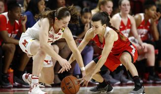 Ohio State guard Carmen Grande, right, attempts to steal possession of the ball from Maryland guard Taylor Mikesell in the first half of an NCAA college basketball game, Saturday, Jan. 5, 2019, in College Park, Md. (AP Photo/Patrick Semansky)