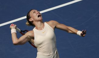 FILE - In this Aug. 27, 2018, file photo, Simona Halep, of Romania, serves to Kaia Kanepi, of Estonia, during the first round of the U.S. Open tennis tournament, in New York.  No. 1-ranked Halep returns to competitive tennis this week at the Sydney International unsure if her back injury has fully healed.(AP Photo/Andres Kudacki, File)