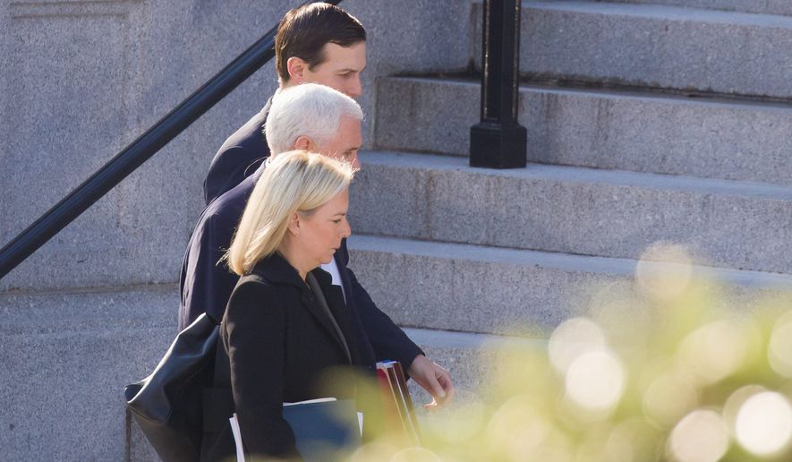 Homeland Security Secretary Kirstjen Nielsen, Vice President Mike Pence and White House senior adviser Jared Kushner were meeting this weekend with staff members of House and Senate leadership. (Associated Press)
