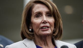 Speaker of the House Nancy Pelosi of Calif., speaks to reporters after meeting with President Donald Trump about border security in the Situation Room of the White House, Friday, Jan. 4, 2019, in Washington. (AP Photo/Evan Vucci)