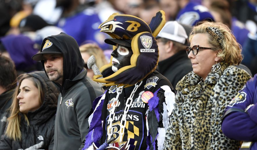 Baltimore Ravens fans watch the second half of an NFL wild card playoff football game against the Los Angeles Chargers, Sunday, Jan. 6, 2019, in Baltimore. (AP Photo/Gail Burton)  **FILE**