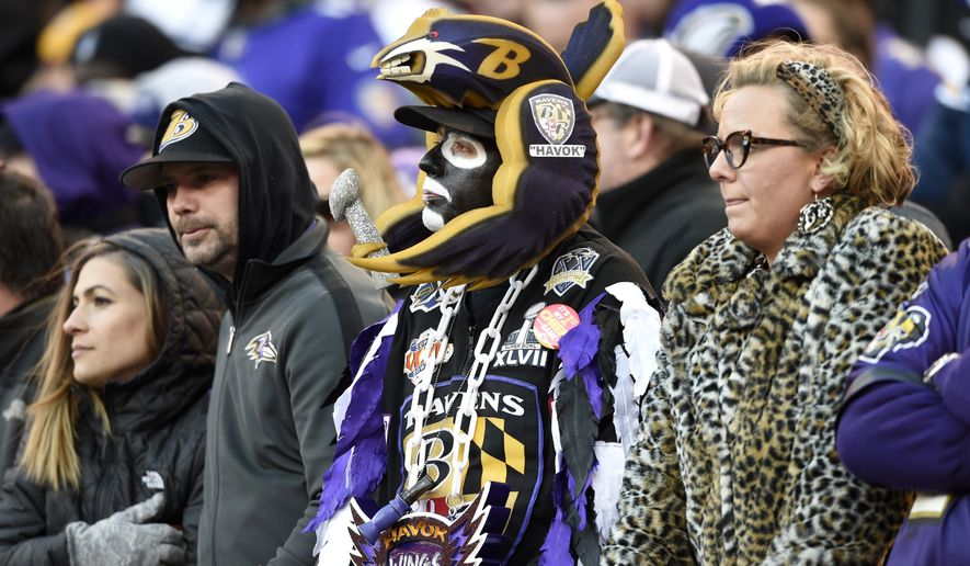 Baltimore Ravens fans watch the second half of an NFL wild card playoff football game against the Los Angeles Chargers, Sunday, Jan. 6, 2019, in Baltimore. (AP Photo/Gail Burton)