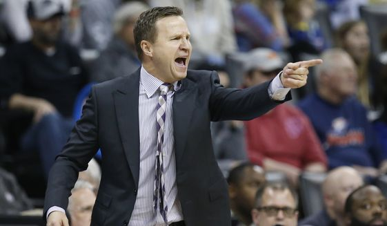 Washington Wizards head coach Scott Brooks gestures in the second half of an NBA basketball game against the Oklahoma City Thunder in Oklahoma City, Sunday, Jan. 6, 2019. (AP Photo/Sue Ogrocki) **FILE**