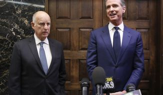 FILE- In this Nov. 13, 2018 file photo California Gov.-elect Gavin Newsom, right, and Gov. Jerry Brown talk with reporters after their meeting at the Capitol, Tuesday, Nov. 13, 2018, in Sacramento, Calif. Newsom will be sworn in to office Jan. 7, 2019, concluding the 80-year-old Brown's four terms. (AP Photo/Rich Pedroncelli, File)