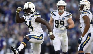 Los Angeles Chargers defensive end Melvin Ingram (54) celebrates after sacking Baltimore Ravens quarterback Lamar Jackson in the second half of an NFL wild card playoff football game, Sunday, Jan. 6, 2019, in Baltimore. (AP Photo/Gail Burton)