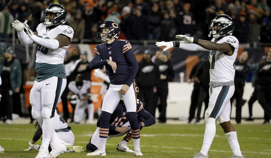 4385ef97089 Chicago Bears kicker Cody Parkey (1) watches as he misses a field goal in