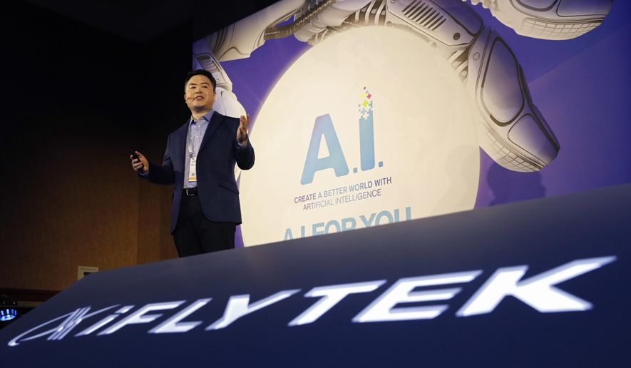 iFLYTEK vice president Steven Li speaks during an iFLYTEK news conference before CES International, Sunday, Jan. 6, 2019, in Las Vegas. (AP Photo/John Locher)