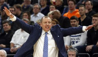 Minnesota Timberwolves head coach Tom Thibodeau directs his team against the Orlando Magic in the second half of an NBA basketball game Friday, Jan. 4, 2019, in Minneapolis. (AP Photo/Jim Mone) **FILE**