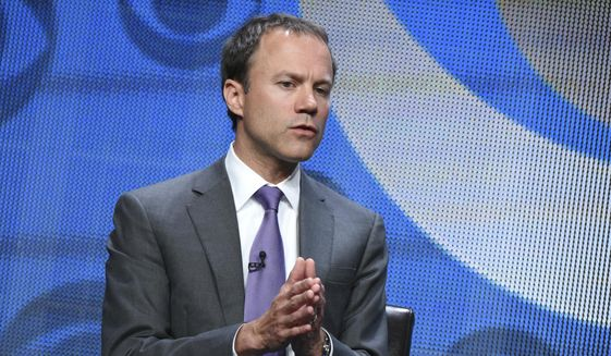 """FILE - In this Aug. 10, 2015, file photo, David Rhodes, president of CBS news division, participates in the CBS News panel at the CBS Summer TCA Tour at the Beverly Hilton Hotel in Beverly Hills, Calif. CBS says Rhodes is stepping down following a troubled year that saw morning anchor Charlie Rose and the top executive at """"60 Minutes"""" lose their jobs following misconduct reports and ratings issues at its top shows. In a memo to his staff, Rhodes said Sunday, Jan. 6, 2019, that """"the new year is a time for renewal, for new goals. The world we cover is changing, how we cover it is changing - and it's the right time for me to make a change too."""" (Photo by Richard Shotwell/Invision/AP, File)"""