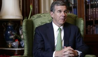 Gov. Roy Cooper (D-N.C.) is shown in this undated file photo. On April 18, 2019, Mr. Cooper vetoed legislation that addresses a doctor's responsibilities if a late-term abortion results in an infant being born alive.(Associated Press) **FILE**