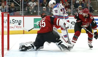 New York Rangers center Filip Chytil (72) attempts to shoot the puck past Arizona Coyotes goalie Darcy Kuemper (35) as Arizona Coyotes' Alex Goligoski (33) defends during the second period of an NHL hockey game, Sunday, Jan. 6, 2019, in Glendale, Ariz. (AP Photo/Ralph Freso)
