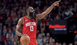 Houston Rockets guard James Harden gestures during the first half of an NBA basketball game against the Portland Trail Blazers in Portland, Ore., Saturday, Jan. 5, 2019. (AP Photo/Craig Mitchelldyer)