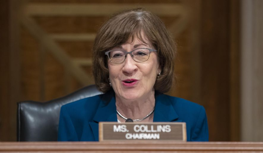 In this Oct. 3, 2018, file photo Sen. Susan Collins, R-Maine, chairs the Senate Special Committee on Aging on Capitol Hill in Washington. (AP Photo/J. Scott Applewhite, File)