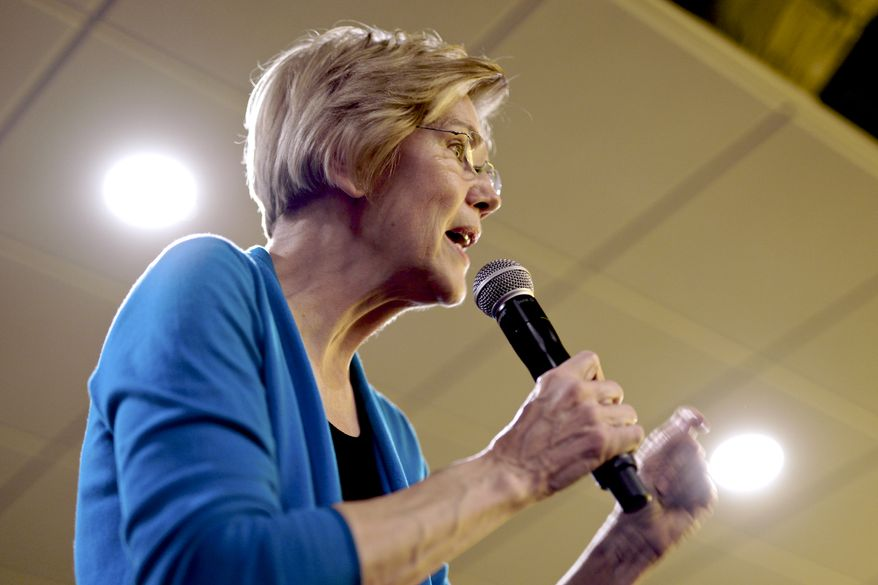 Sen. Elizabeth Warren, D-Mass, speaks during an organizing event at McCoy's Bar Patio and Grill in Council Bluffs, Iowa, Friday, Jan. 4, 2019. Warren is making her first visit to Iowa this weekend as a likely presidential candidate, testing how her brand of fiery liberalism plays in the nation's premier caucus state. (AP Photo/Nati Harnik)