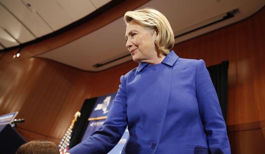 "Former Secretary of State Hillary Clinton greets well-wishers following an appearance with New York Gov. Andrew Cuomo, Monday, Jan. 7, 2019, at Barnard College in New York, where the pair called for codifying abortion rights into New York State law. Members of New York state's legislature and women's rights advocates cheered Clinton as she said the struggle for women's equality ""continues to be the fight of our lifetime."" (AP Photo/Kathy Willens)"