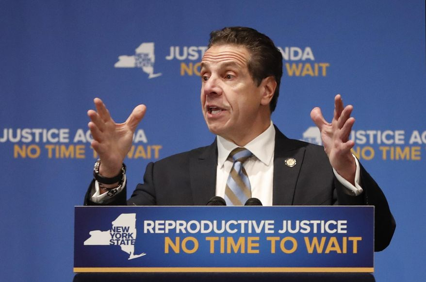 New York Governor Andrew Cuomo, gestures as he speaks, Monday, Jan. 7, 2019, at Barnard College in New York, where he called for codifying abortion rights into New York State law. (AP Photo/Kathy Willens) ** FILE **