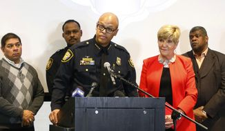 FILE - In this Jan. 9, 2017 file photo, Fort Worth Police Chief Joel Fitzgerald speaks at a press conference to announce the discipline for Officer William Martin in Forth Worth, Texas. The Baltimore mayor's nominee to be the city's next police commissioner on Monday abruptly withdrew his name from consideration, the latest setback to the beleaguered force where leadership instability has become the norm. A terse announcement about Fitzgerald's decision was first made in a Monday, Jan. 7, 2019,  tweet from the Fort Worth Police Department, the Texas municipal force he leads. They did not provide any details about his reasoning, only saying Fitzgerald decided to withdraw his name. (Rodger Mallison /Star-Telegram via AP, File)