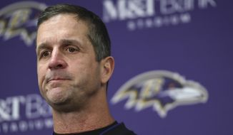 Baltimore Ravens head coach John Harbaugh speaks at a news conference after an NFL wild card playoff football game against the Los Angeles Chargers, Sunday, Jan. 6, 2019, in Baltimore. (AP Photo/Gail Burton)