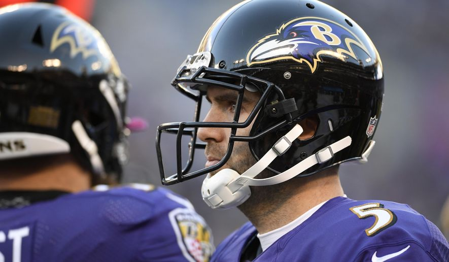 Baltimore Ravens quarterback Joe Flacco stands on the sideline the second half of an NFL wild card playoff football game against the Los Angeles Chargers, Sunday, Jan. 6, 2019, in Baltimore. (AP Photo/Nick Wass)