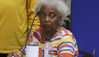 FILE - In this Nov. 9, 2018, file photo, Brenda Snipes, Broward County supervisor of elections, speaks with officials before a canvasing board meeting in Lauderhill, Fla. Snipes was in a federal court Monday, Jan. 7, 2019, asking U.S. District Judge Mark Walker to reinstate her as elections supervisor for Broward County. (AP Photo/Joe Skipper, File)