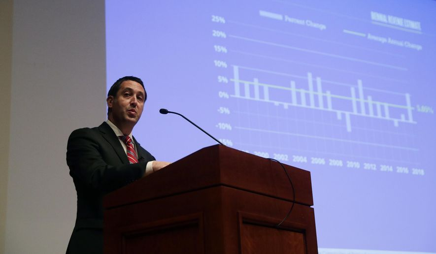 Texas Comptroller Glenn Hegar speaks during a news conference where he released biennial revenue estimates that will be used to set Texas budget for the upcoming legislative session, Monday, Jan. 7, 2019, in Austin, Texas. (AP Photo/Eric Gay)