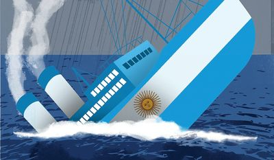 Illustration on the difficulties faced by Argentina by Linas Garsys/The Washington Times