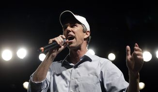 In this Nov. 5, 2018, file photo, Rep. Beto O'Rourke, D-El Paso, the 2018 Democratic candidate for U.S. Senate in Texas, speaks during a campaign rally in El Paso, Texas. (AP Photo/Eric Gay, File)