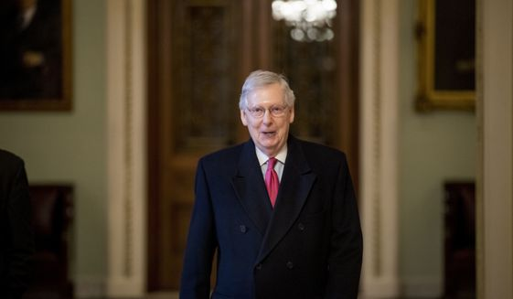 In this Jan. 3, 2019, photo, Senate Majority Leader Mitch McConnell of Ky. arrives on Capitol Hill in Washington, as the 116th Congress begins. Senate Republicans' first bill of the new Congress aims to insert the legislative branch into President Donald Trump's Middle East policy — but also tries to drive a wedge between centrist and liberal Democrats over attitudes toward Israel. The bipartisan package backed by McConnell, had initially drawn widespread support ahead of Tuesday's vote. (AP Photo/Andrew Harnik)