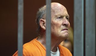 FILE - In this June 1, 2018, file, pool photo, Joseph James DeAngelo appears in Sacramento Superior Court, in Sacramento, Calif. Authorities have cleared DeAngelo accused of being California's Golden State Killer of involvement in the 1975 murder of a 14-year-old girl in the Central Valley. The Tulare County district attorney's office on Tuesday, Jan. 8, 2019, released a review that said DNA testing concluded that DeAngelo didn't kill Donna Jo Richmond. (Jose Luis Villegas/The Sacramento Bee via AP, Pool, File)