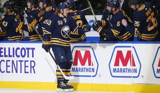 Buffalo Sabres forward Jeff Skinner (53) celebrates his goal during the second period of an NHL hockey game against the New Jersey Devils, Tuesday, Jan. 8, 2019, in Buffalo N.Y. (AP Photo/Jeffrey T. Barnes)