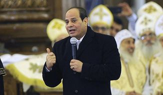 "Egyptian President Abdel-Fattah el-Sissi, speaks to Coptic Christians during Christmas Eve Mass at the new ""Cathedral of the Nativity of Christ,"" in the new administrative capital, 40 kilometers (25 miles) east of Cairo, Egypt, late Sunday, Jan. 6, 2019. Egypt's president is inaugurating a new cathedral for the Coptic Orthodox Church and one of the region's largest mosques in a highly symbolic gesture at a time when Islamic militants are known to target the country's minority Christians. (AP Photo)"