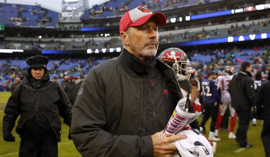 FILE - In this Sunday, Dec. 16, 2018 file photo, Tampa Bay Buccaneers head coach Dirk Koetter walks off the field after an NFL football game against the Baltimore Ravens in Baltimore. The Atlanta Falcons are bringing back two familiar names by hiring Dirk Koetter as offensive coordinator and Mike Mularkey to coach tight ends. Koetter and Mularkey are joining coach Dan Quinn's staff following stints as NFL head coaches.  (AP Photo/Carolyn Kaster, File)