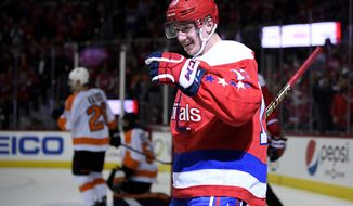 Washington Capitals left wing Jakub Vrana (13), of the Czech Republic, celebrates his goal during the second period of an NHL hockey game against the Philadelphia Flyers, Tuesday, Jan. 8, 2019, in Washington. This was Vrana's second goal of the game. (AP Photo/Nick Wass) ** FILE **