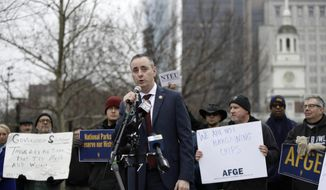 Rep. Brian Fitzpatrick, R-Pa., speaks during a demonstration against the partial government shutdown in view of Independence Hall in Philadelphia, Tuesday, Jan. 8, 2019. (AP Photo/Matt Rourke) ** FILE **