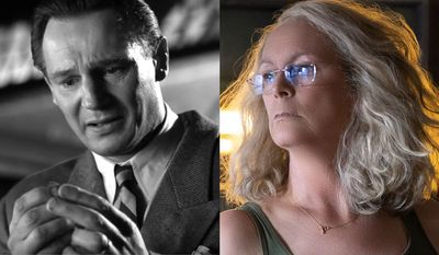 "Liam Neeson as Oskar Schindler in ""Schindler's List: 25th Anniversary Edition"" and Jamie Lee Curtis as Laurie Stroud in ""Halloween,"" now available on 4K Ultra HD."