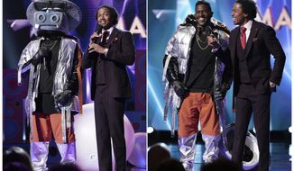 """This combination of photos released by Fox shows NFL wide receiver Antonio Brown in a hippo costume as he stands with host Nick Cannon, left, and Brown after he revealed his identity in the series premiere of """"The Masked Singer,"""" which aired on Jan. 2.  The Nielsen company said that 9.37 million people watched the series debut last Wednesday. That was the biggest audience to watch the premiere of any unscripted show on television in more than seven years. (Michael Becker/FOX via AP)"""