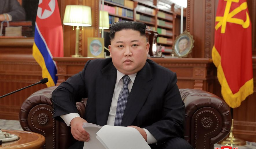 In this file photo released on Jan. 1, 2019, North Korean leader Kim Jong-un delivers a New Year's speech in North Korea. (Korean Central News Agency/Korea News Service via AP, File)