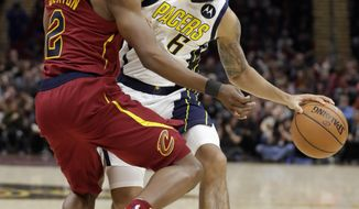 Indiana Pacers' Cory Joseph (6) drives against Cleveland Cavaliers' Collin Sexton (2) during the second half of an NBA basketball game Tuesday, Jan. 8, 2019, in Cleveland. The Pacers won 123-115. (AP Photo/Tony Dejak)