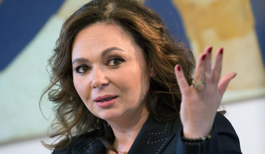 FILE - In this April 22, 2018 file photo, Russian lawyer Natalia Veselnitskaya speaks during an interview with The Associated Press in Moscow. Veselnitskaya, who became a focal point of the investigation into whether there was collusion between Russians and President Donald Trump's election campaign, was charged with obstruction of justice Tuesday, Jan. 8, 2019, in an unrelated case. (AP Photo/Dmitry Serebryakov, File)