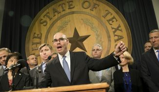 FILE - In this Jan. 11, 2017, file photo, state Rep. Dennis Bonnen, R-Angleton, speaks about border security at a news conference at the Capitol in Austin, Texas. Bonnen, a veteran Republican who was a key lieutenant of the previous speaker, is set to become the new speaker of the Texas House. (Jay Janner/Austin American-Statesman via AP, File)