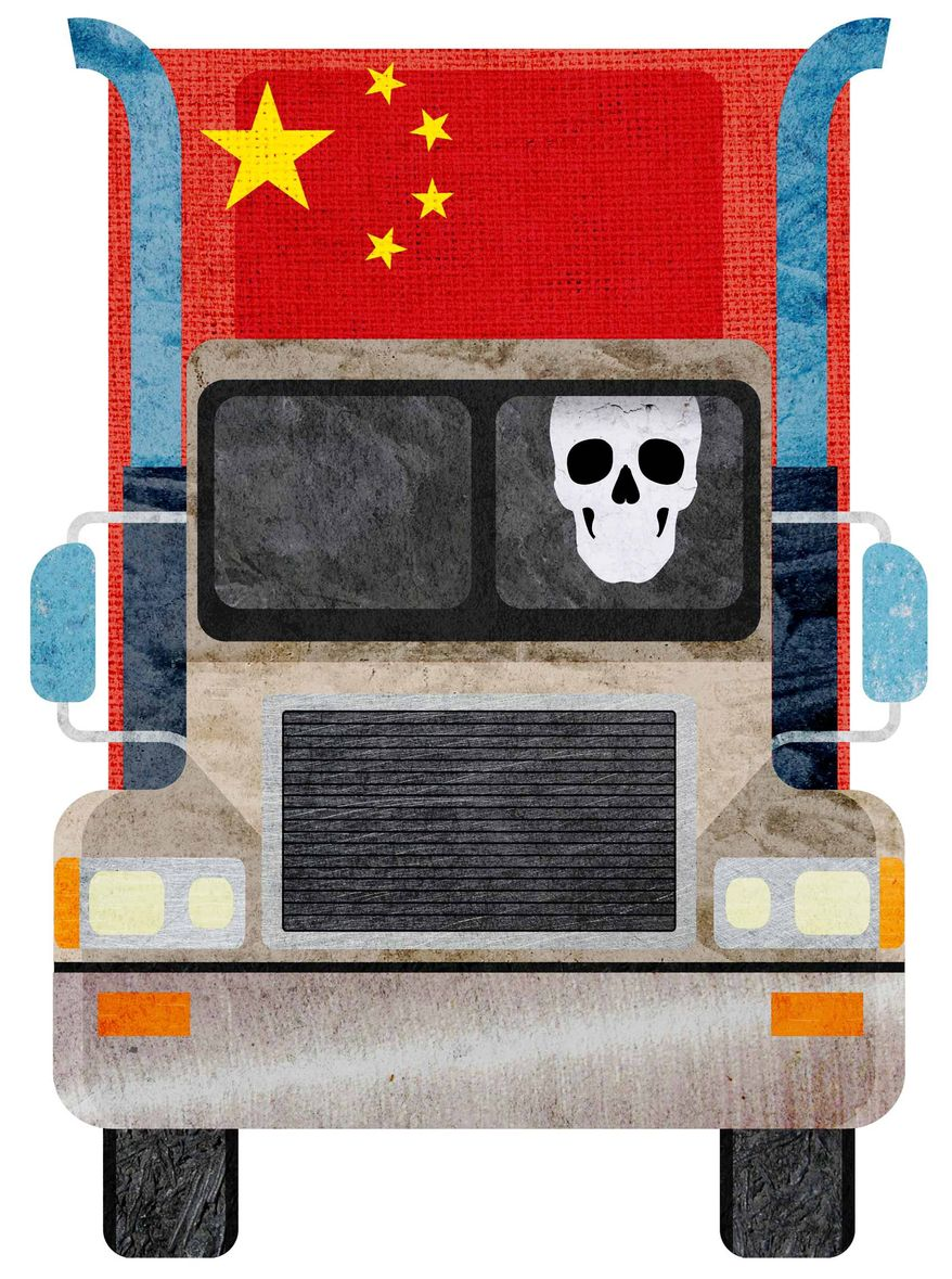 Drug Death from China Illustration by Greg Groesch/The Washington Times