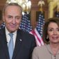 Senate Minority Leader Charles E. Schumer and House Speaker Nancy Pelosi delivered the rebuttal to President Trump's address on Tuesday. (Associated Press)