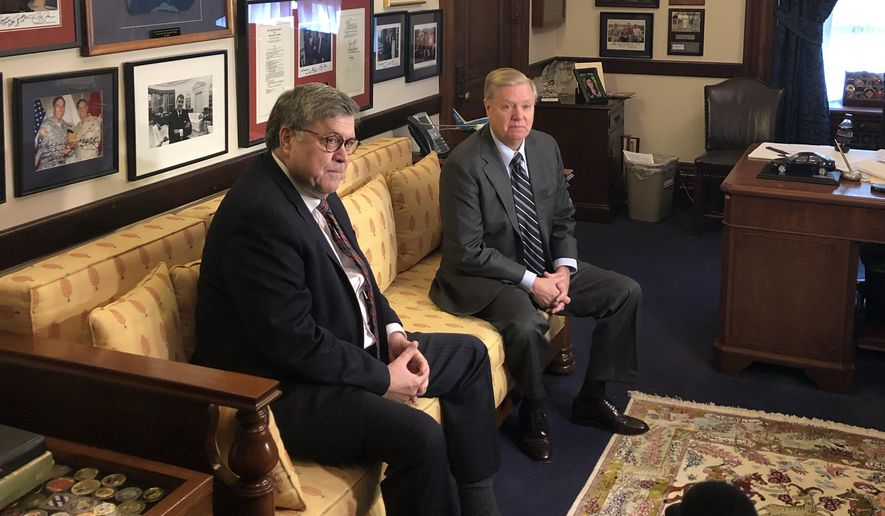 William Barr, left, President Trump's nominee for attorney general, meets with Sen. Lindsey Graham, South Carolina Republican, at the U.S. Capitol on Wednesday, Jan. 9, 2019. (Jeff Mordock/The Washington Times)