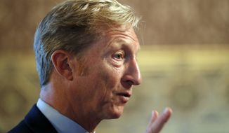 Billionaire investor and Democratic activist Tom Steyer speaks to the Iowa Latino and Asian Coalition, Wednesday, Jan. 9, 2019, at the Statehouse in Des Moines, Iowa. (AP Photo/Charlie Neibergall)