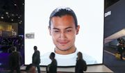 A giant KIA video screen advertises facial recognition in prototype vehicles as patrons walk past at CES International Wednesday, Jan. 9, 2019, in Las Vegas. (AP Photo/Ross D. Franklin) ** FILE **