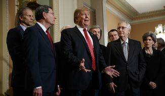 President Donald Trump speaks after attending a Senate Republican policy lunch on Capitol Hill, Wednesday, Jan. 9, 2018, in Washington, as from left, Sen. John Thune, R-S.D., Sen. John Barrasso, R-Wyo., Sen. Roy Blunt, R-Mo., Sen. Todd Young, R-Ind., Senate Majority Leader Mitch McConnell of Ky., and Sen. Joni Ernst, R-Iowa, listen. (AP Photo/ Evan Vucci)