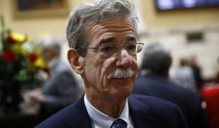 Maryland Attorney General Brian Frosh speaks with a reporter in the Maryland State House in Annapolis, Md., Wednesday, Jan. 9, 2019, the first day of the state's 2019 legislative session. (AP Photo/Patrick Semansky)