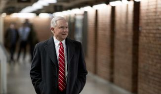 Former Attorney General Jeff Sessions walks on Capitol Hill in Washington, Wednesday, Jan. 9, 2019, after getting a haircut. (AP Photo/Andrew Harnik) **FILE**