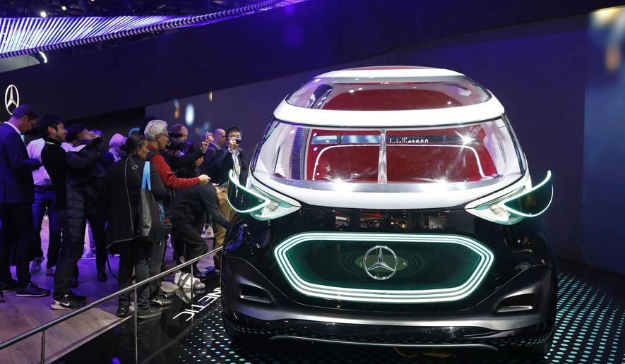 The Mercedes-Benz Vision Urbanetic is on display at the Mercedes-Benz booth at CES International, Tuesday, Jan. 8, 2019, in Las Vegas. (AP Photo/John Locher)